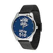 Годинник ZIZ Мрій працюй (ремінець з нержавіючої сталі чорний) + додатковий ремінець