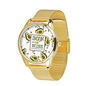 Часы ZIZ ЗОЖ (ремешок из нержавеющей стали золото) + дополнительный ремешок
