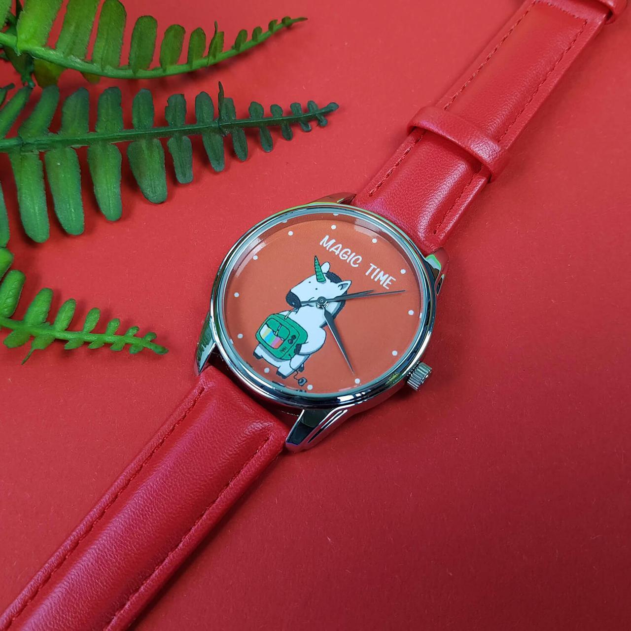 Годинник ZIZ Єдиноріг (ремінець маково - червоний, срібло) + додатковий ремінець