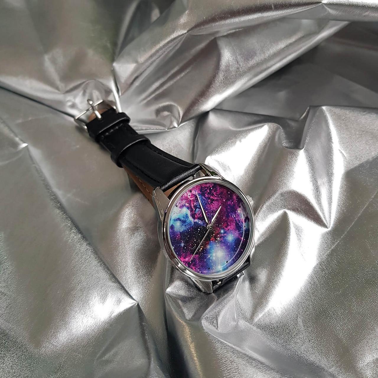 Годинник ZIZ Галактика (ремінець насичено - чорний, срібло) + додатковий ремінець