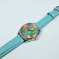 Часы ZIZ Карта путешествий (ремешок небесно - голубой, серебро) + дополнительный ремешок