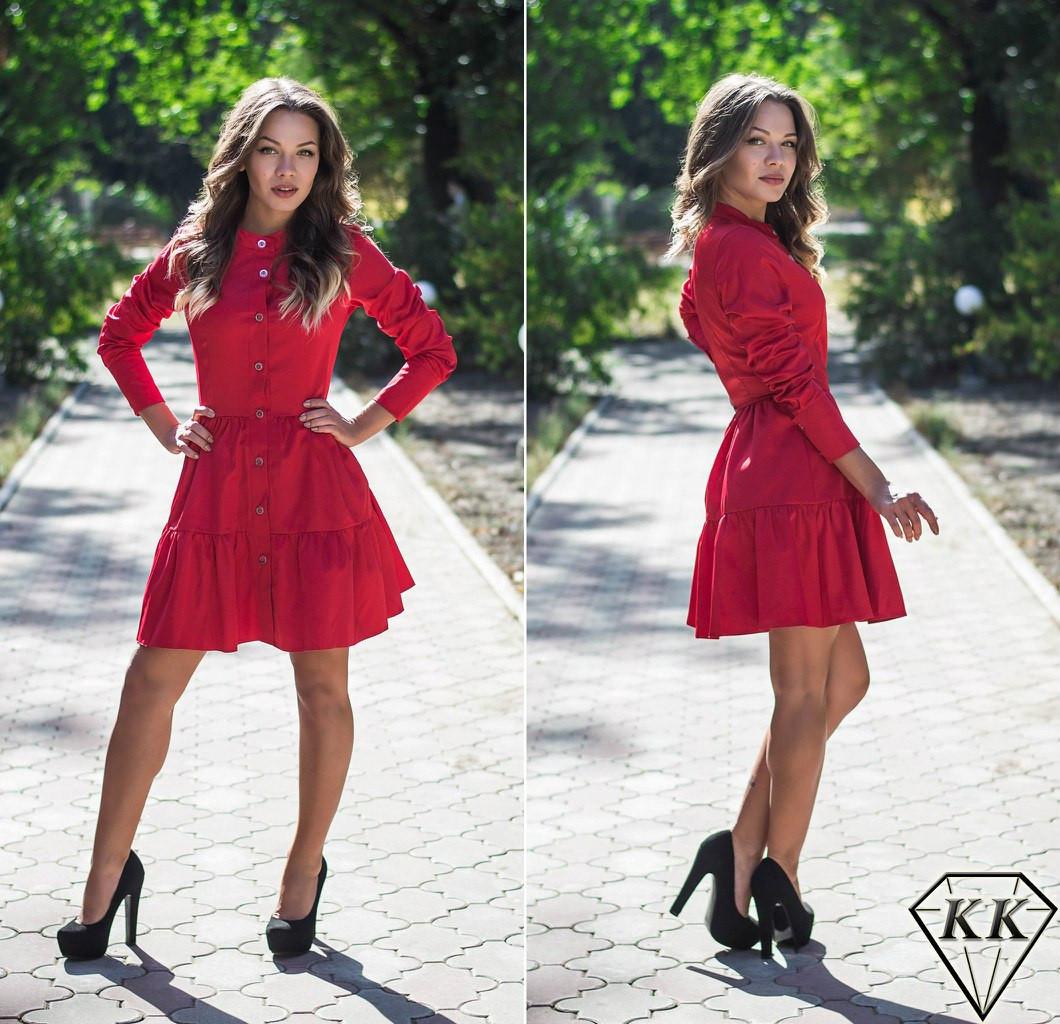 Красное платье с пуговицами