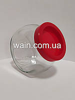 """Банка стеклянная 1730 мл """"Sweet New"""" Everglass для хранения сыпучих и круп с красной крышкой"""