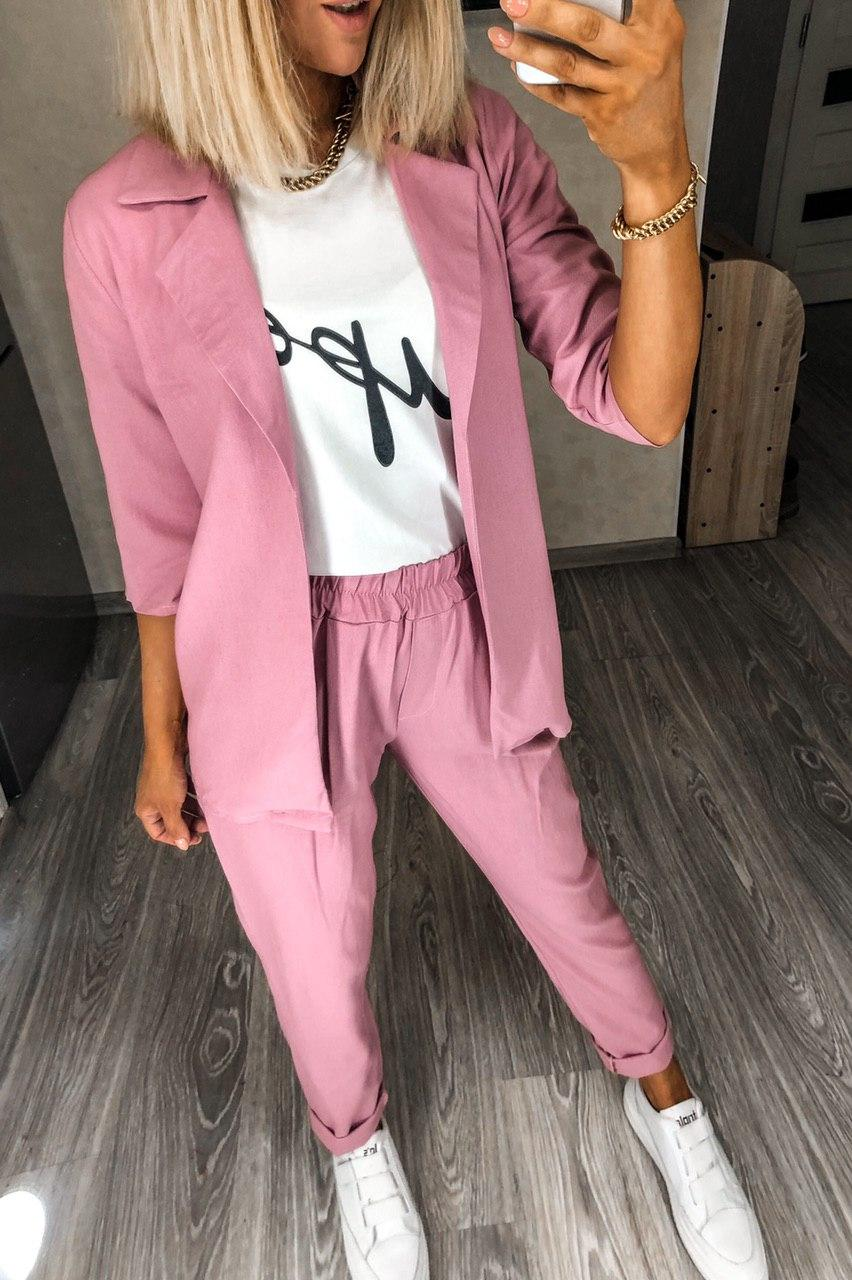 Летний модный женский льняной костюм Разные цвета