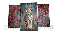 Картина на досках Тигр Осень
