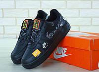 Мужские кожаные кроссовки  Air Force 1 Low Just Do It (Найк Аир Форс 1) черные низкие