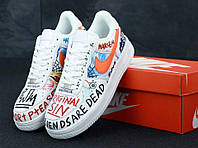 Кроссовки Nike Air force Pauly x Vlone Pop (Найк Аир Форс 1 белые низкие с надписями) мужские и женские размер