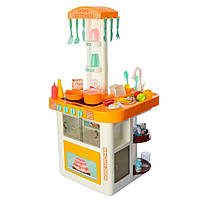 Игровая детская кухня 889-59-60, вода , свет, звук, Детская посуда (40 предметов) жёлтая 11/23.2