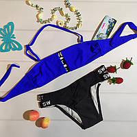 Модний красивий роздільний купальник дитячий, синій