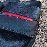 Мужские шлепки летние низкие шлепки кожаные черные с красным. Живое фото. Реплика, фото 2