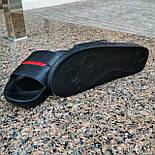 Мужские шлепки летние низкие шлепки кожаные черные с красным. Живое фото. Реплика, фото 3