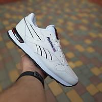 Кроссовки мужские Reebok Classic. Кроссовки белые с черными вставками. Реплика  класса люкс (ААА+)