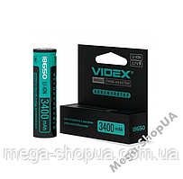 Аккумулятор Videx Li-Ion 18650 3400mAh с защитой. Элемент питания 18650. Батарейка 18650 Box/1pc