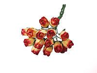 Букетик из мини бутонов розы — Желто-красные полураскрытые, 13 мм, 5 шт