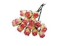 Букетик из мини бутонов розы — Желто-розовые полураскрытые, 13 мм, 5 шт