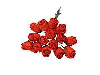 Букетик из мини бутонов розы — Красные полураскрытые, 13 мм, 5 шт