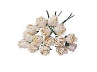 Букетик из мини бутонов розы — Молочные полураскрытые, 13 мм, 5 шт