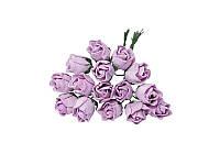 Букетик из мини бутонов розы — Светло-сиреневые полураскрытые, 13 мм, 5 шт