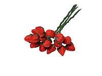 Букетик из средних бутонов розы — Красные закрытые, 10 мм, 5 шт