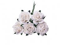 Букетик из миди роз — Белые, размер 2 см, 5 шт