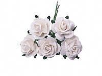 Букетик из миди роз — Белые, размер 2,5 см, 5 шт