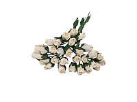 Букетик из микро бутонов розы — Молочные, 8 мм, 10 шт