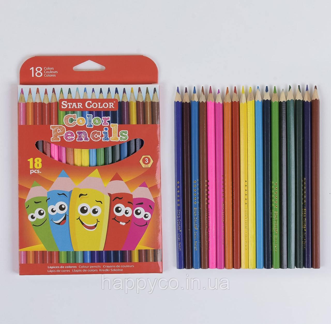 Карандаши цветные в упаковке 18 цветов