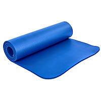 Коврик для йоги и фитнеса NBR повышенной толщины 1,83мx0,61мx10мм, вспененный каучук, фиксирующая резинка
