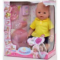 Детская кукла пупс 8006-410, высота 42 см, бутылоч,горшок, соска,тарел, ложк, каша ,подгузн 11/15.5