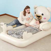 Детская надувная односпальная велюр-кровать Bestway Мишка Teddy 67712, размер 188*109*89 см, от 3х лет 11/22.5