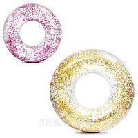 Круг для плавания, надувной круг для взрослого Intex 56274 NP, диаметр 119 см, (розовый и золотой) от 9 лет
