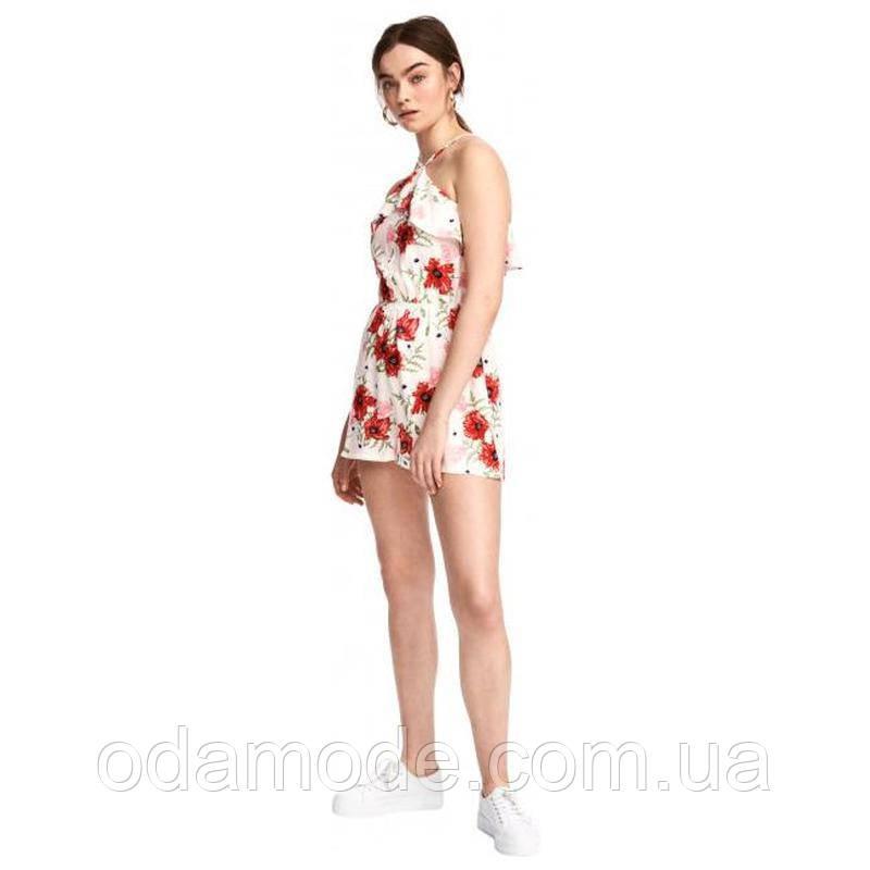 Комбинезон женский с шортами H&M белый в цветочный принт