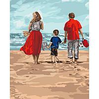 """Акриловая картина по номерам на холсте люди на море """"Семейный отдых"""" 40х50, 3 уровень сложности"""