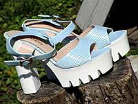 Женские Голубые Летние Босоножки на высоком каблуке
