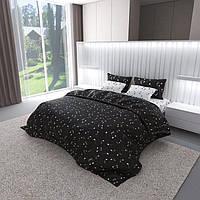 Полуторный комплект постельного белья черно-белый