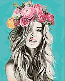 """Картина за номерами """"Дівчина у квітковому вінку"""" 40*50 см в коробці, ArtStory + акриловий лак"""