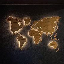 Деревянная карта Мира с холодной LED подсветкой и гравировкой 170х100 см, фото 3