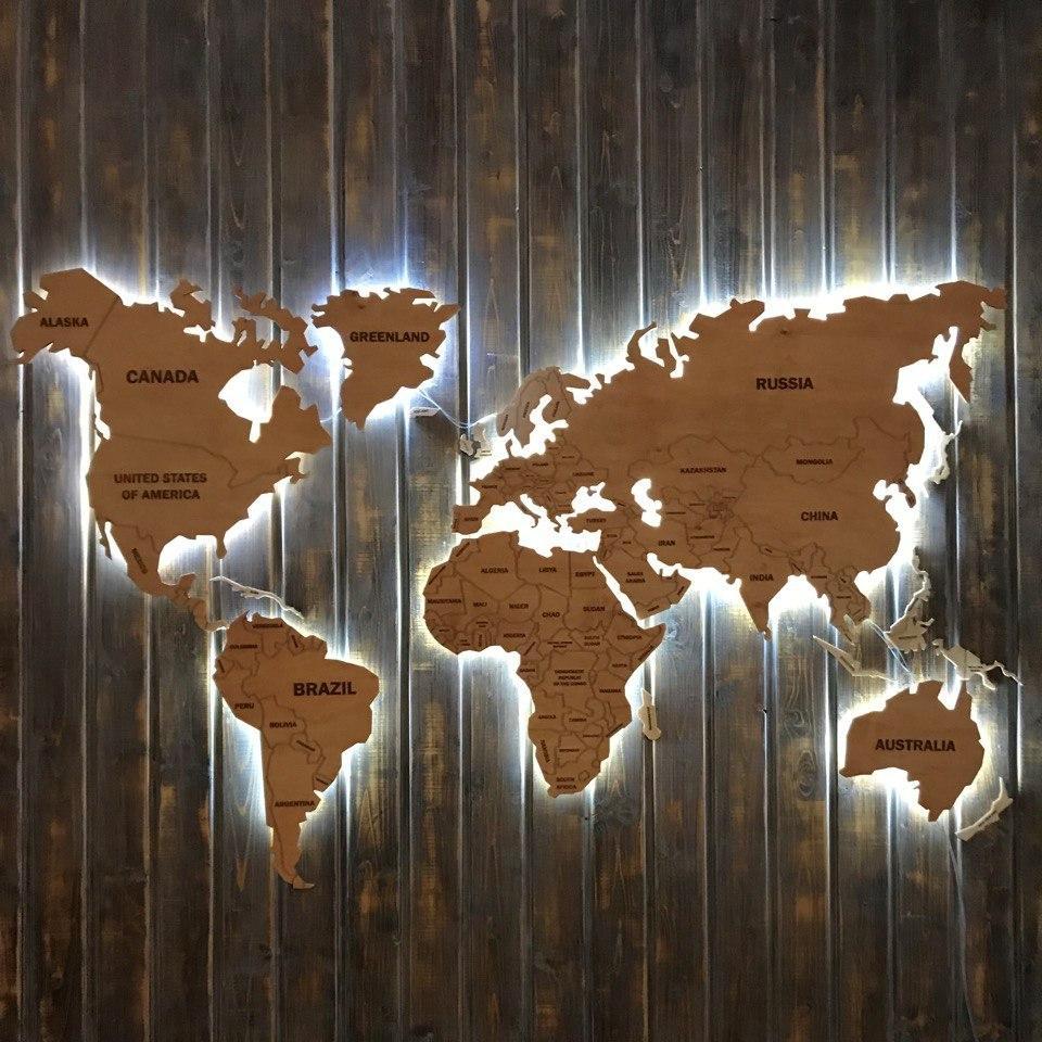 Деревянная карта Мира с холодной LED подсветкой и гравировкой 170х100 см