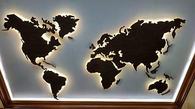 Деревянная карта Мира с LED подсветкой 125х70 см, фото 3