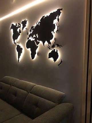 Деревянная карта Мира с LED подсветкой 125х70 см, фото 2