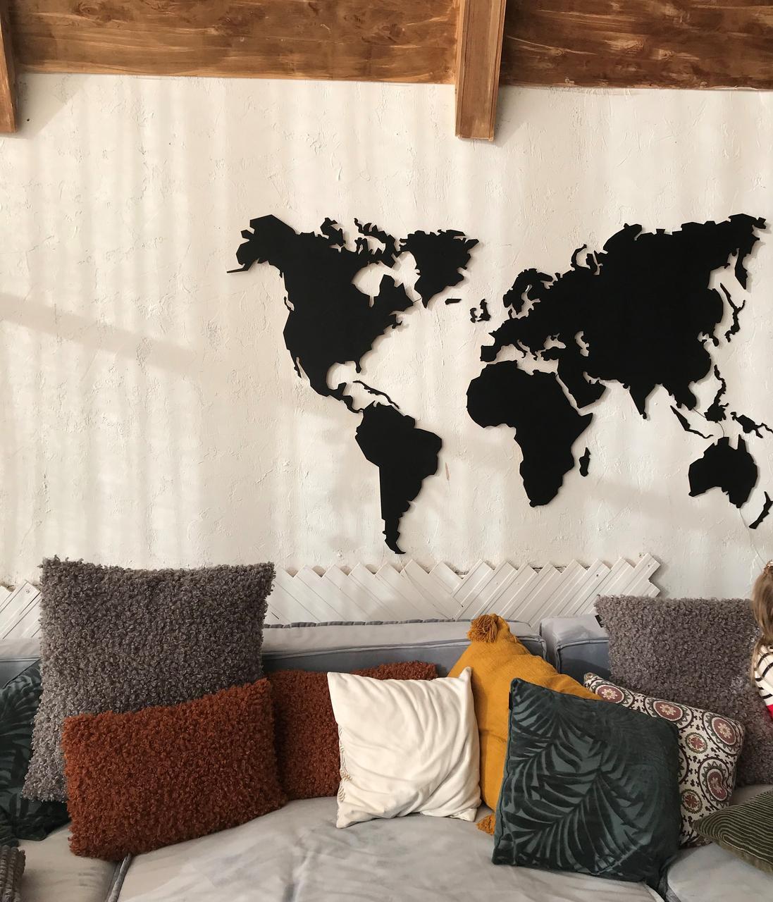 Деревянная карта Мира с LED подсветкой 125х70 см