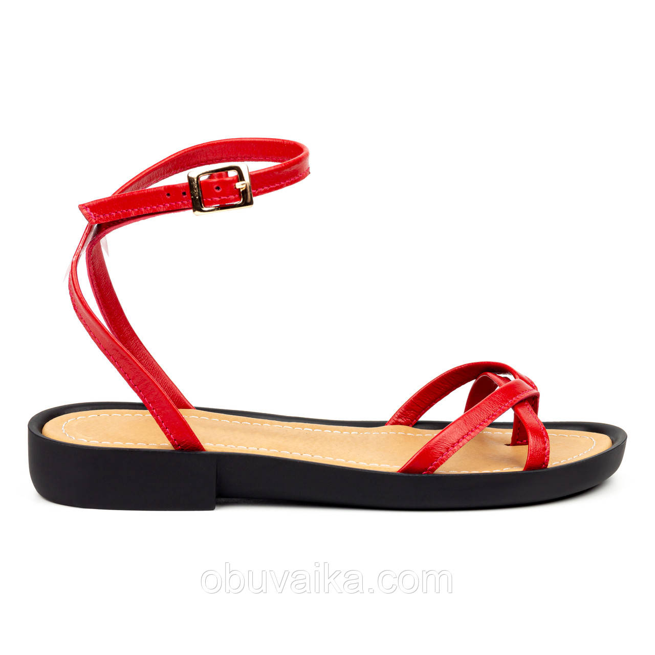 Красные кожаные босоножки вьетнамки Woman's heel сандалии с пряжкой