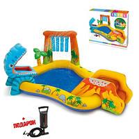 Детский надувной бассейн с горкой Intex - надувной игровой центр Динозавр