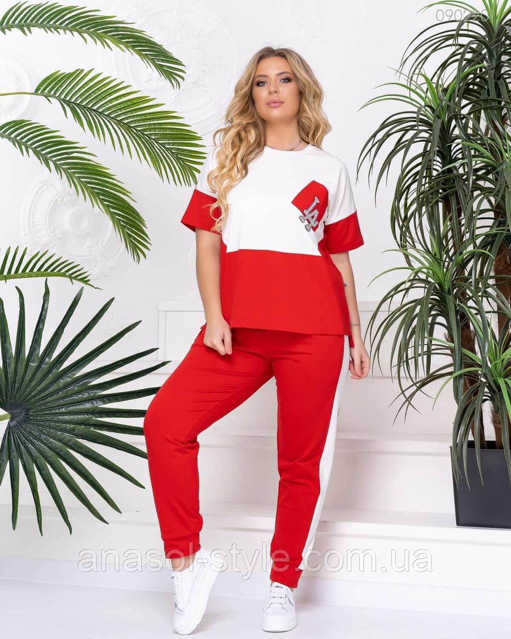Спортивный костюм женский Спорт №24 красный