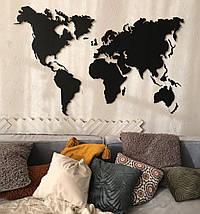 Деревянная карта Мира с холодной LED подсветкой и гравировкой 150х90 см, фото 3