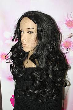 Полупарик искусственные волосы термоволокно волнистые длинные черные