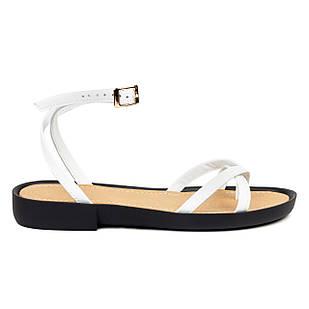 Сандалии-вьетнамки женские 36-41 Woman's heel белые из натуральной кожи с ремешком