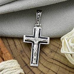 Серебряный крест Спаси и Сохрани размер 39х18 мм черная эмаль вес 2.85 г