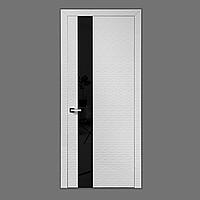 Межкомнатная дверь Casa Verdi Waves 1 из МДФ со вставкой чёрное стекло на скрытых петлях глянцевая