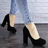 Туфли женские на каблуке черные Valmont 1244
